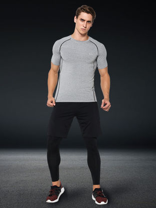 Picture of 3 Pcs Men's Running Set Vogue Skinny O Neck Quick Drying Cozy Activewear Set - Size: L