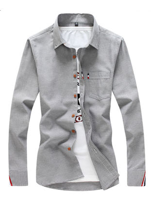 Picture of Men's Shirt Long Sleeve Cotton Blends Solid Color All Match Shirt - Size: L