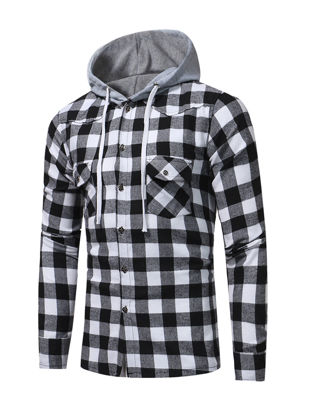 Picture of Men's Shirt Long Sleeve Plaid Pattern Casual Comfy Hooded Shirt - Size: M