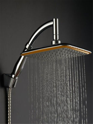 Picture of Shower Faucet 9 inch Square ABS Chrome Plating Shower Head  with 2 Connecting Hoses