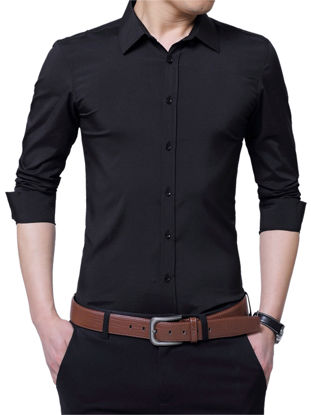 Picture of Zhuowolves Men's Solid Long Sleeve Shirt Single Breasted Slim Business Shirt - Size: M