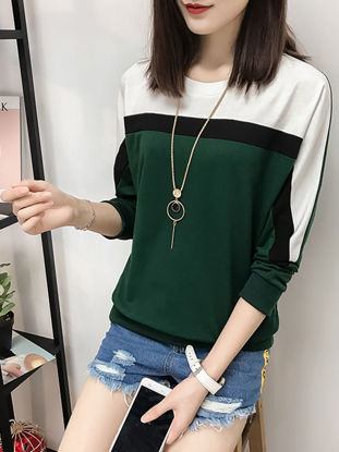 Picture of Women's T Shirt Plus Size O Neck Color Block Bawting Sleeve Loose Top