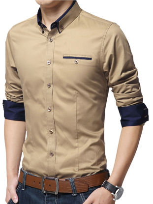 Picture of Men's Plus Size Shirt Turn Down Collar Long Sleeve Slim Fashion Top - Size: XXL