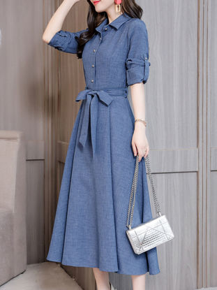 Picture of Women's Dress Plus Size Turn Down Collar Solid Color Maxi Long Dress - Size: XXL