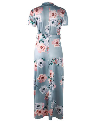 Picture of Women's Maxi Long Dress Short Sleeve Stand Collar Floral Sheath Dress - Size: L