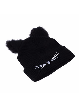 Picture of Women's Hat Fashion Solid Color Cat Design Casual Wool Cap - Size: One Size
