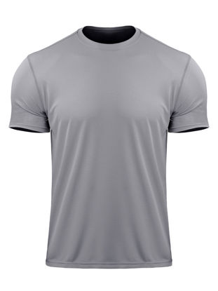 Picture of Men's Sports T Shirt Solid Color Short Sleeve Breathable Elastic Quick Drying Top - Size: XL