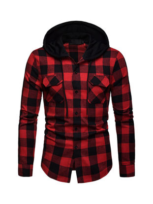 Picture of Men's Shirt Hooded Patchwork Long Sleeve Casual Plaid Top - Size: S