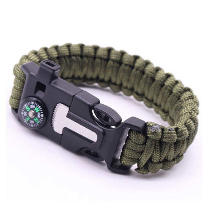 Picture of Paracord Survival Bracelet Flintstone Compass Whistle Outdoor Tool - Size: One Size