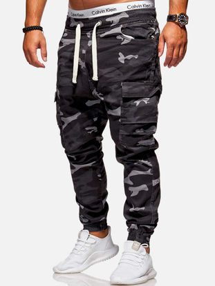 Picture of Men's Cargo Pants ColorBlock Fashion All Match Drawstring Ankle Banded Pants - Size: 3XL