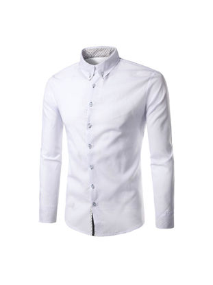 Picture of Men's Shirt Turn Down Collar Long Sleeve Slim Business Top - Size: M