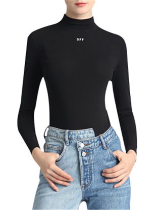 Picture of Women's T Shirt Turtle Neck Long Sleeve Slim Solid Top - Size: M