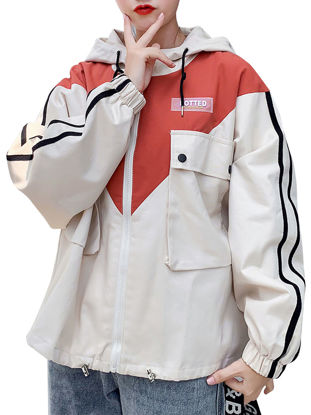 Picture of Women's Trench Coat Patchwork Color Block Hooded Long Sleeve Outwear - Size: XXL