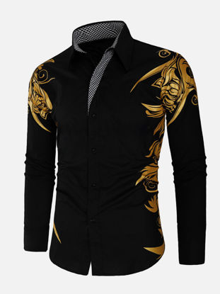 Picture of Men's Shirt Long Sleeve Print Buttons Top - Size: M