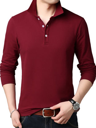 Picture of Men's Shirt Long Sleeve Solid Color Turn Down Collar Top - Size: XXL