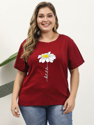 Picture of Women's Plus Size T Shirt O Neck Floral Print Short Sleeve Top Size: 5XL