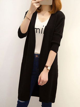 Picture of Women's Cardigan Open Front Long Sleeve Solid Color Knitwear - Size: 3XL