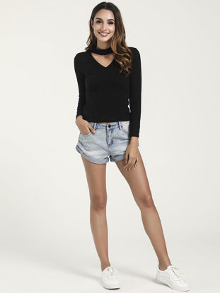 Picture of Women's Pullover Solid Color Long Sleeve Hollow out Knitwear - Size: M