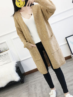 Picture of Women's Cardigan Solid Color Long Sleeve Pocket Knitwear - Size: Free