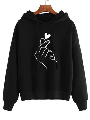 Picture of Women's Hoodie Hooded Print Long Sleeve Loose Fashion Hoodie - Size: L