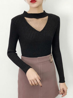 Picture of Women's Pullover Turtle Neck Patchwork Long Sleeve Knitwear - Size: Free