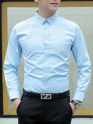Picture of Men's Shirt Solid Color Button Long Sleeve Top - Size: 3XL
