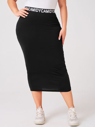 Picture of Women's Plus Size Bodycon Skirt Patchwork High Waist Letter Skirt - Size: XXL