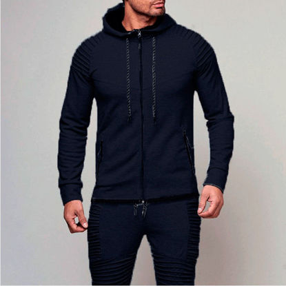 Picture of Men's Sports Hoodie Long Sleeve Solid Color Zipper Closure Hoodie - Size: 3XL