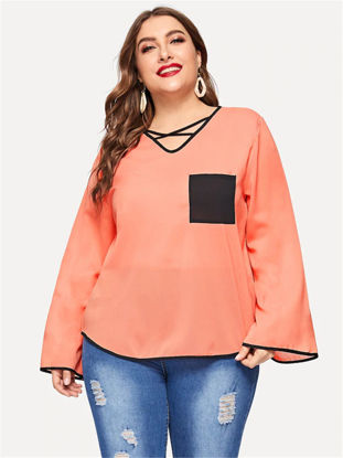 Picture of Women's Plus Size T-shirt V Neck Flare Sleeve Patchwork Pocket Loose Top - Size: XXL
