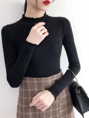Picture of Women's Pullover Slim Turtle Neck Long Sleeve Solid Color Ruffles Knitwear - Size: Free