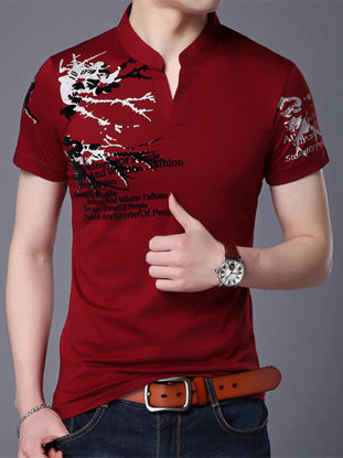 Picture of Men's Polo Shirt Stand Collar Print Short Sleeve Polo Shirt - Size: 3XL