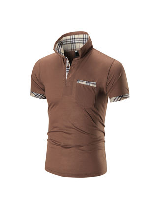 Picture of Men's Polo Shirt Patch Short Sleeve Stylish Polo Shirt - Size: XXL