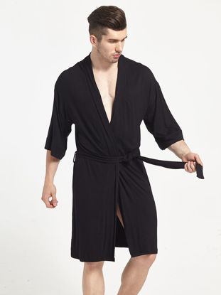 Picture of Men's Robe Solid Color Breathable Comfort Casual Pajamas - Size: XL