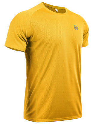 Picture of QUMA Men's T Shirt Breathable Quick Drying Solid Comfy Casual Sport Clothing - Size: XXL