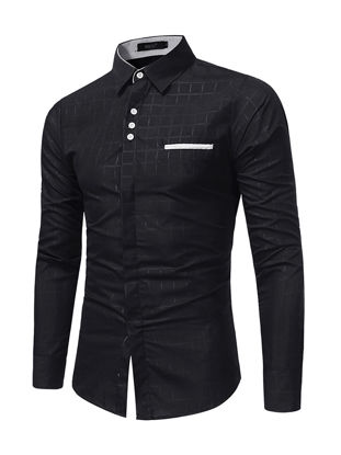 Picture of Men's Shirt Business Long Sleeve Turn Down Collar Shirt - Size: 3XL