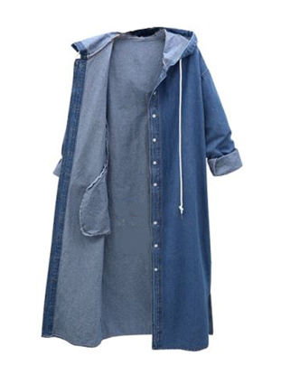 Picture of Women's Retro Trench Coat Solid Color Long Sleeve Denim Jacket - Size: 4XL