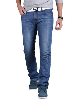 Picture of Men's Jeans Straight All Match Breathable Casual Denim Pants - Size: 32