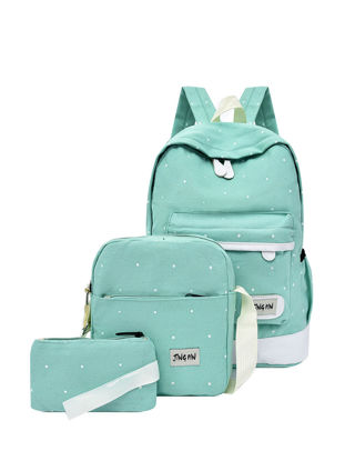 Picture of Women's Backpacks Set 3 Pcs Fashionable Polka Dot Pattern Casual Large Capacity Bags - Size: Free