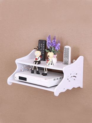 Picture of White Storage Rack Decorative Wall Shelf Home Wifi Router Shelf Wall Mounted Commodity Shelf