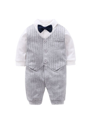 Picture of Baby Baby Boy Bodysuit Bow Knot Turn Down Collar Long Sleeve Fake Vest Gentry Jumpsuit - Size: 59cm