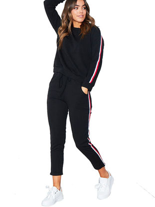 Picture of Women's Active Tracksuit Striped Pattern Long Sleeve O Neck Pocketed Casual Sports Set - Size: XXL