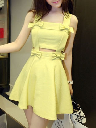 Picture of Women's Dress Sleeveless Solid Color Bow Decoration Slim Fit Mini Tank Dress - Size: M