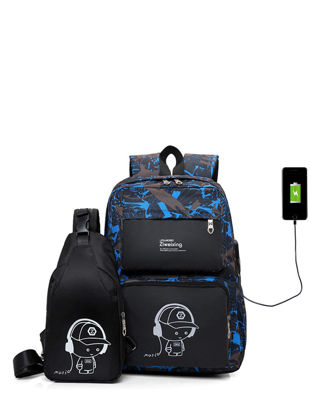 Picture of 2 Pcs Men's Backpack  School High Quality Outdoor Backpack - Size: Free