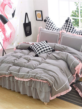 Picture of 4 Pcs Bedskirt Set Modern Sweet Solid Double Ruffles Ductile Bedding Set - Size: 2#0m Bed