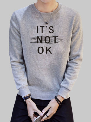 Picture of Men's Slim Sweatshirt Letter Pattern O Neck Long Sleeve Fashion Leisure Pullover - Size: XXL