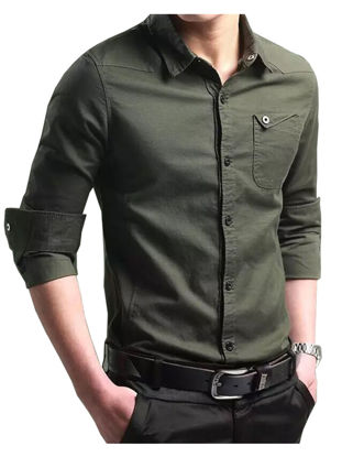 Picture of Men's Cotton Long Sleeve Shirt Simple All Match Solid Slim Shirt - Size: L