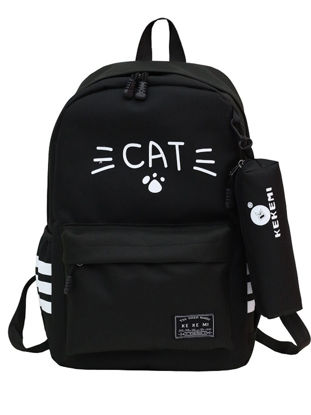 Picture of Girl's 2Pcs School Bag Cartoon Cat Mustache Pattern Cute Backpack - Size: One Size