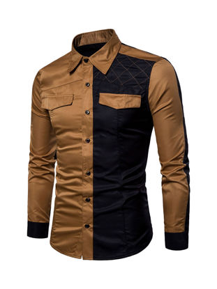 Picture of Men's Shirt Turn Down Collar Long Sleeve Color Block Patchwork Slim Top - Size: XXL
