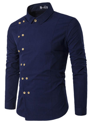 Picture of Men's Shirt Turn Down Collar Long Sleeve Solid Color Faddish Slim Top - Size: L