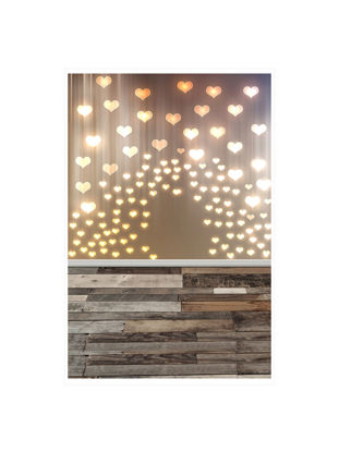 Picture of Photography Background Glowing Heart Wood Floor Pattern Mini Backdrop